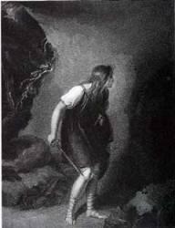 Imogène dans la grotte - Gravure de Boydell d'après Richard Westfall (1803)